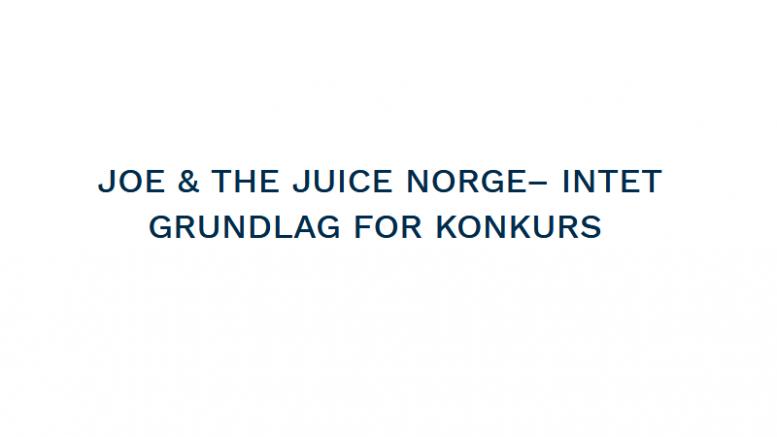 Pressemeddelelse Joe and the juice Norge